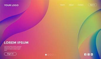 progettazione del modello di pagina di destinazione gradiente arcobaleno vettore