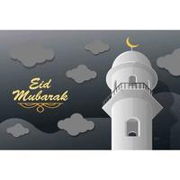 moschea eid mubarak e carta del cielo notturno vettore