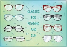Sole e occhiali da lettura Vectot vettore