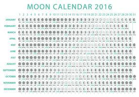 Vettore del calendario 2016 della luna