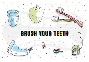 Icone vettoriali di spazzolatura dei denti