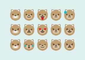 Vettori dell'emoticon del cane di Pomeranian