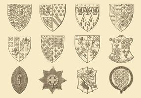 Vettori di stile araldico e emblema di vecchio stile