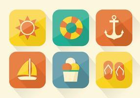 Collezione di icone di estate in design piatto vettore