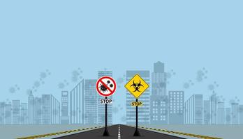 avvertimento e pericolo coronavirus non passa segni vettore