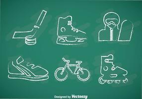 Icone di vettore disegnato gesso di sport