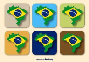 Vettori di bandiera e mappa del Brasile