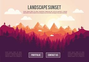 Fondo di vettore dell'illustrazione di tramonto del paesaggio