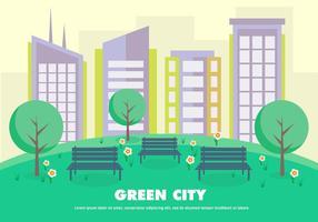 Illustrazione di vettore di città verde piatta