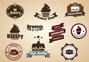 Insieme di vettore dei distintivi del dessert e del brownie