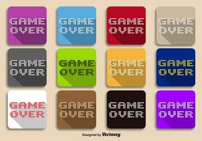 Vettore Pixeled Game Over Message su sfondi a colori