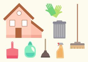 Vettore gratuito degli elementi di pulizia