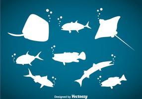 Vettore della siluetta degli animali dell'oceano