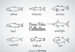 Vettore lineare delle icone del pesce dell'oceano