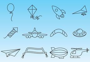 Vettori di icone di cose volanti