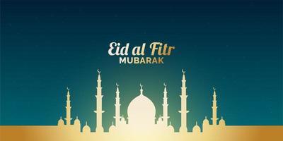 striscione eid al-fitr con moschea d'oro incandescente vettore