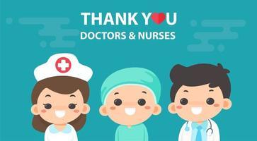 messaggio di ringraziamento con medici e infermieri vettore