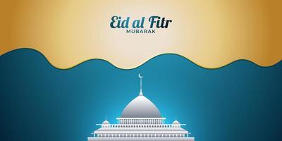 Eid Mubarak con moschea bianca vettore