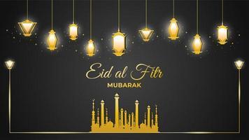 moschea eid al-fitr e lanterne d'oro su fondo nero vettore