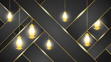 sfondo scuro con lanterne arabe dorate vettore