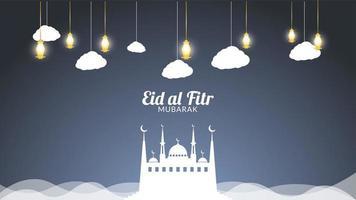 Eid Mubarak nuvole e lanterne d'oro vettore