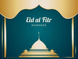 sagoma della moschea dorata di eid al fitr vettore