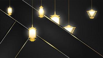 sfondo nero e oro con strati e lanterne arabe vettore