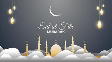 eid al-fitr lanterne sospese sopra la moschea vettore
