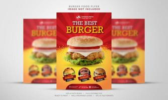 volantino per hamburger in arancione e rosso vettore