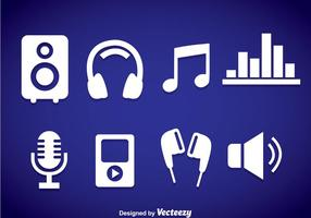 Icone di musica elemento bianco vettore