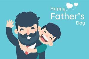 felice festa del papà con ragazzo che abbraccia papà da dietro