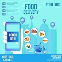 disegno della bandiera di social media di consegna cibo vettore