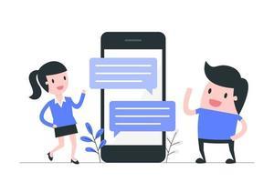 comunicazione tramite sms sui social media vettore