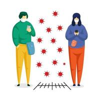 due persone su gadget di social distanza