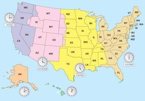 Fusi orari della mappa degli Stati Uniti vettore