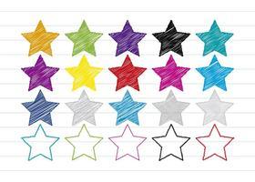 Set di stelle stile scarabocchio colorato vettore