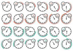 Icone dell'orologio fuso orario vettore