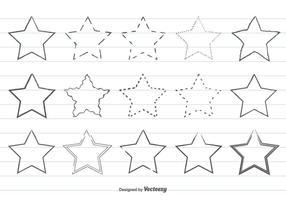 Set di stelle forma disegnata a mano carina vettore