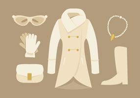 Eleganti donne cappotto e accessori vettori
