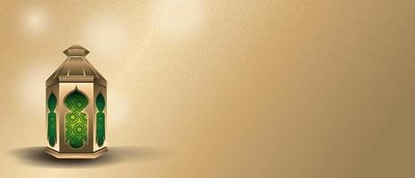 banner per ramadan kareem con bella lanterna islamica