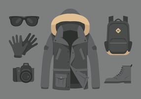 Vector grigio impermeabile e accessori