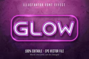 luci al neon segnaletica stile carattere modificabile effetto vettore