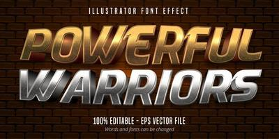 potente testo di guerrieri, effetto font modificabile in stile metallico oro 3d e argento vettore