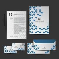 set di cancelleria aziendale triangolo geometrico blu