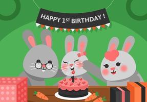 Vector Primo compleanno coniglio