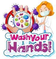 coronavirus a tema lavarsi le mani segno