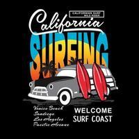 grafica California con auto e tavole da surf per camicia vettore