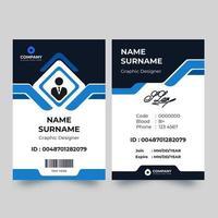 carta d'identità con accento blu ad angolo