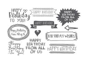 Insieme di etichette di compleanno stile disegnato a mano vettore