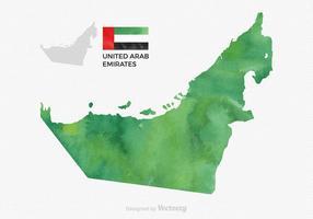 Mappa di UAE dell'acquerello di vettore gratuito